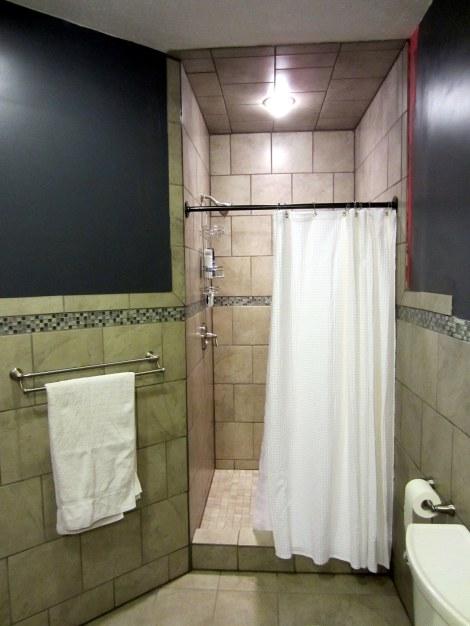 Shower Towel rack, custom shower rod, Moen Fixtures